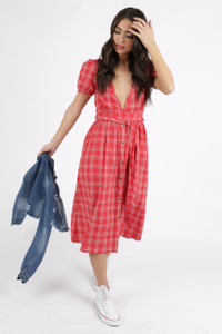 Red Check Deep Plunge Neck Midi Dress