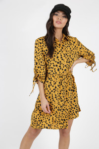 Mustard Animal Print Smock Shirt Dress