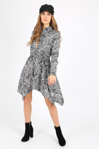 White Zebra Print Hanky Hem Shirt Dress
