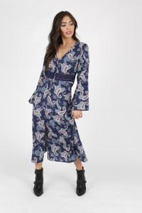 Navy Paisley Print Button Down Midi Dress