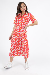 Red Ditsy Floral Short Sleeve Midi Dress