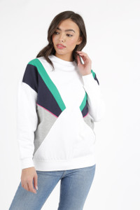 White Colour Block Sweat Top