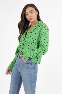 Green Black Spot Revere Collar Shirt