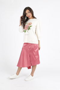 Pink Asymmetric Satin Midi Skirt