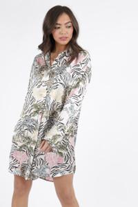 Tallulah Tiger Satin Oversized Shirt Dress