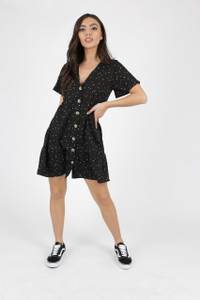 Black Heart Print Button Down Frill Hem Smock Dress