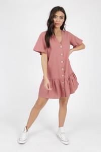Pink Cotton Button Detail Frill Hem Smock Dress