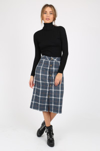 Navy Plaid Button Down Midi Skirt