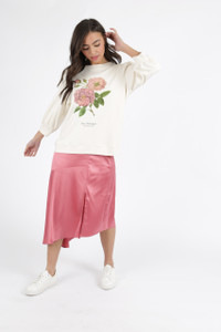 Botanical Floral Puff Sleeve Sweat Shirt