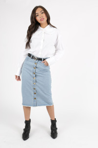 White Cotton Oversized Shirt With Lace Trim Collar