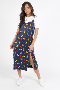Avacoda Print Satin Slip Dress