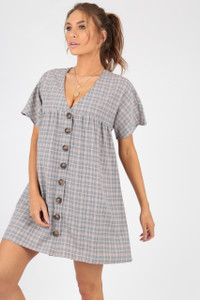 Grey Checked Mock Horn Button Smock Dress