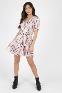 Pink Abstract Print Wrap Frill Skirt Mini Dress
