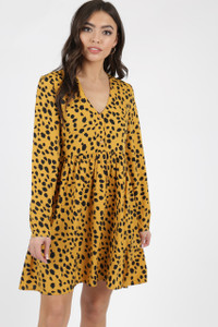 Mustard Dalmatian Print Smock Dress