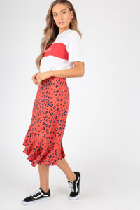 Red Asymmetric Frill Hem Animal Leopard Print Skirt