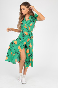 Green Orange Wrap Floral Midi Dress With Puff Sleeve