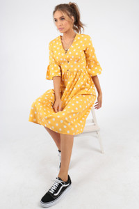 Yellow Polka Dot Spot Midi Dress With Mock Horn Buttons
