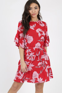 Red Floral Ruffle Hem Waist Belted Mini Dress