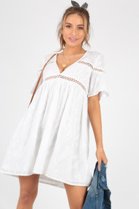 White Cotton Crochet Trim Smock Dress