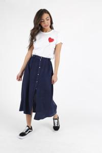 Indigo Denim Look Button Down Midi Skirt