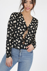 Black Abstract Print Tie Front Blouse