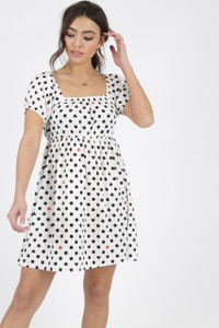 White Heart Print Puff Sleeve Mini Dress