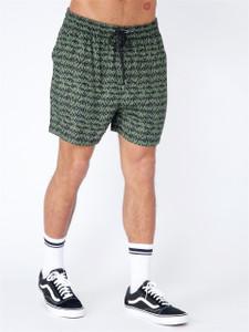 Khaki Print Viscose Shorts