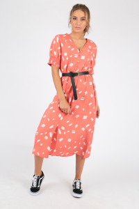 Coral Abstract Print Button Down Midi Dress