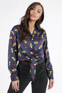Avacoda Print Satin Revere Collar Tie Front Crop Shirt