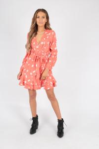 Coral Abstract Print Ruffle Wrap Mini Dress