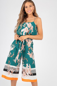 Green Oriental Border Print Double Layer Culotte Jumpsuit