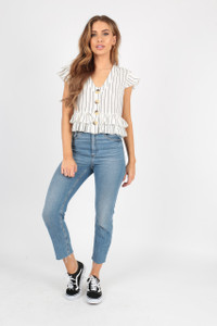 White Stripe Cotton Peplum Frill Button Top