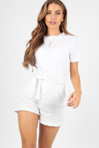 Broderie Anglais Crochet Paperbag High Waisted Shorts with Belt