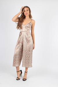 Satin Soft Pastel Snake Print Culotte Jumpsuit