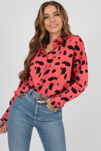 Pink Large Scale Dalmatian Oversized Shirt