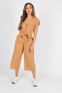 Cotton Camel Utility Culotte Jumpsuit with Buttons