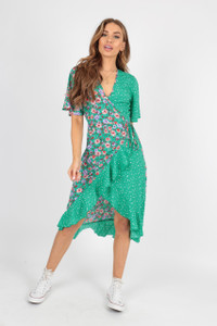 Green Floral and Irregular Spot Mix and Match Wrap Frill Midi Dress