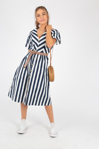 Blue And White Stripe Cotton Midi Dress With Mock Horn Buttons