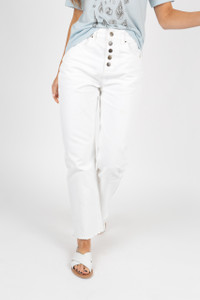 White Button Front High Waist Mom Jeans