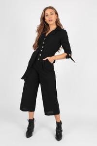 Black Tie Waist Boilersuit