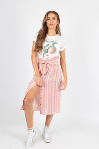 Stripe Cotton Paperbag Waist Midi Skirt with Mock Horn Buttons
