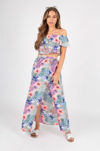 Tropical Print Maxi Skirt with Split
