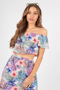 Tropical Print Bardot Top