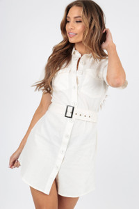 White Linen Look Utility Dress with Self Fabric Belt And Button Detail