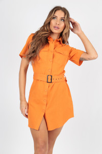 Bright Orange Linen Look Utility Dress with Self Fabric Belt And Button Detail