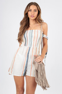 Cotton Stripe Tie Sleeve Bardot Playsuit