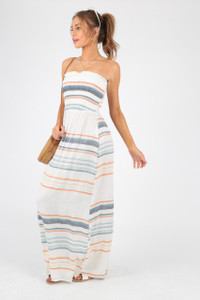 Stripe Maxi Cotton Beach Dress with Shirring