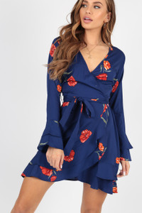 Navy Blue Floral Wrap Dress with Frill Skirt and Fluted Sleeve