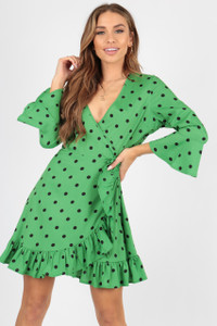 Green Black Polka Dot Spot Wrap Dress With Frill And Fluted Sleeve