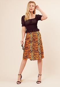 Tiger Print Double Split Midi Skirt